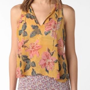 Urban Outfitters Kimchi Blue Mustard Floral Top L
